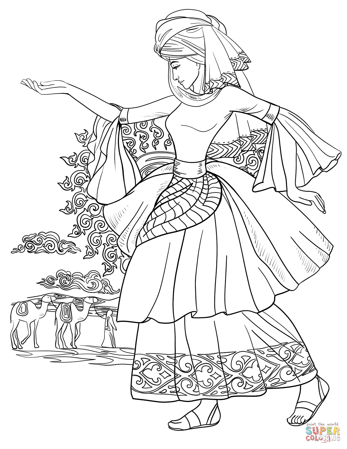 Arab Woman Dancing Coloring Page