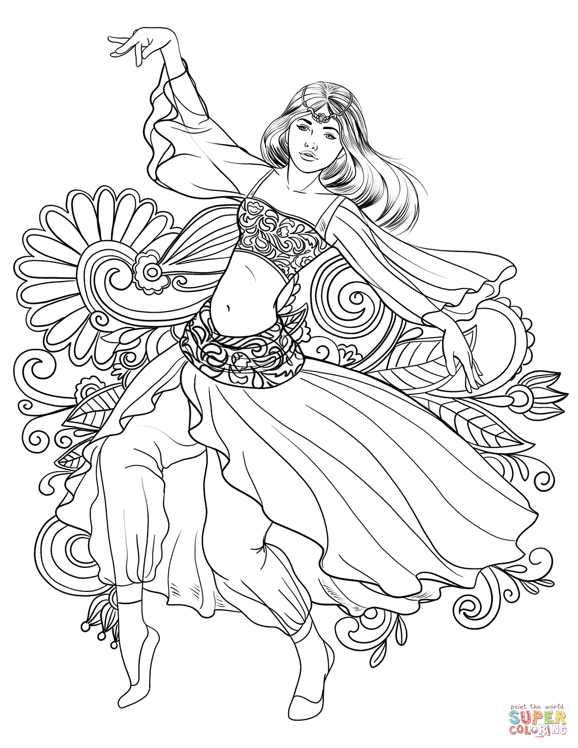 Arabic Woman Dancing Belly Dance Coloring Page