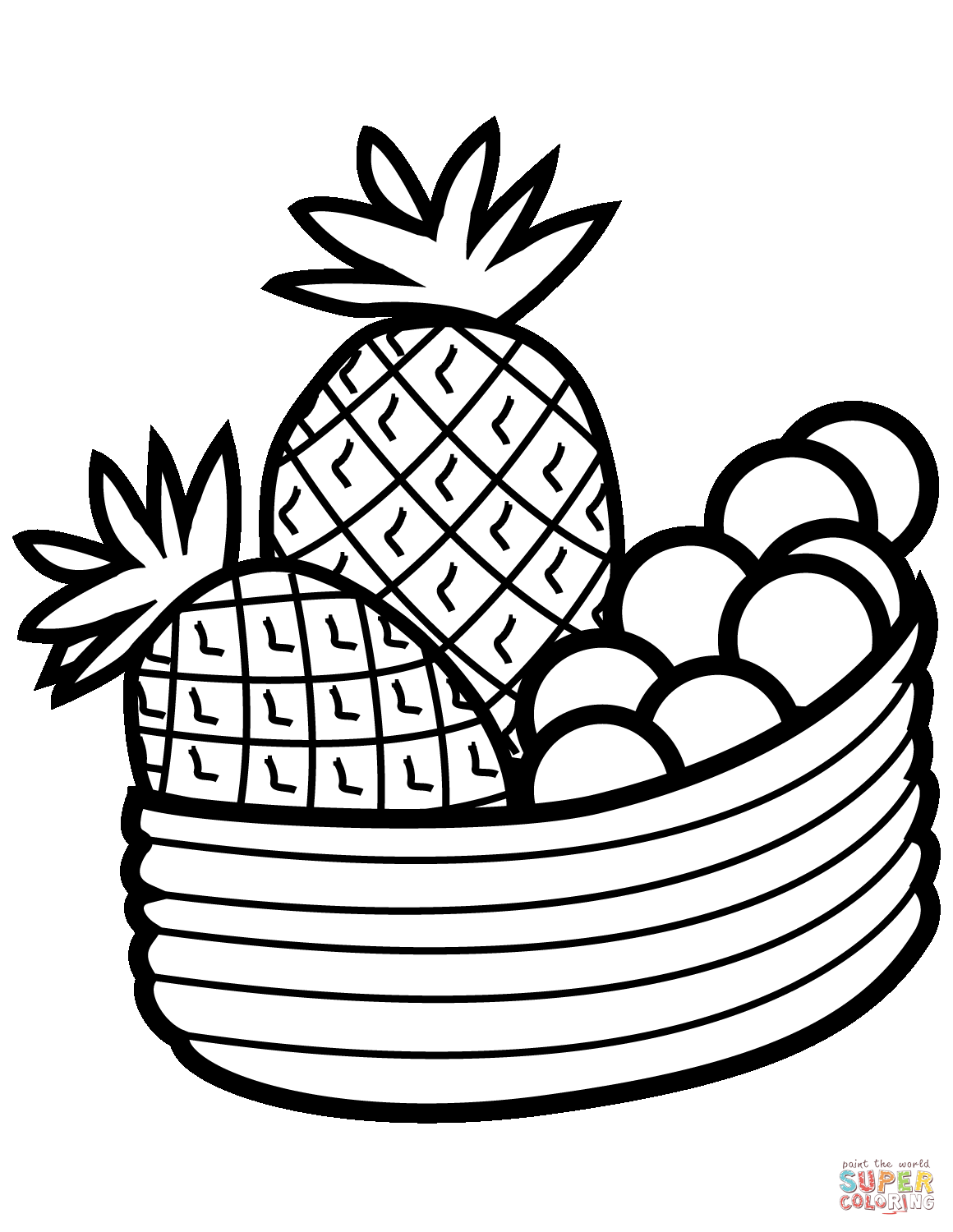 Bowl With Fruits Coloring Page