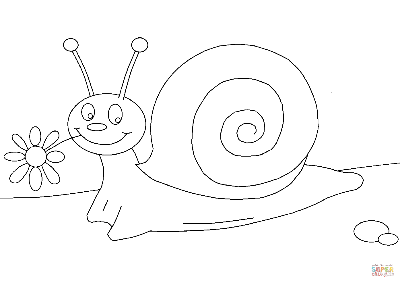 Cartoon Snail Coloring Page