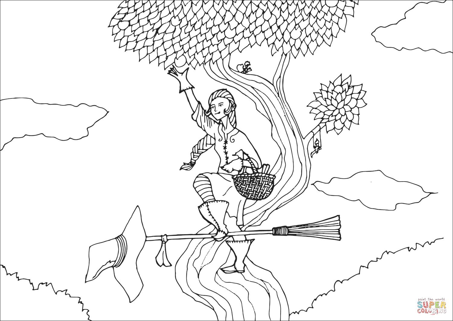Garden Witch Coloring Page