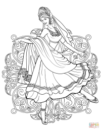 Indian Woman Dancing in a Traditional Dress coloring page ...
