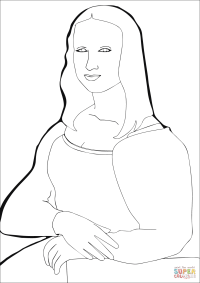 Dibujo de Mona Lisa de Leonardo da Vinci para colorear ...