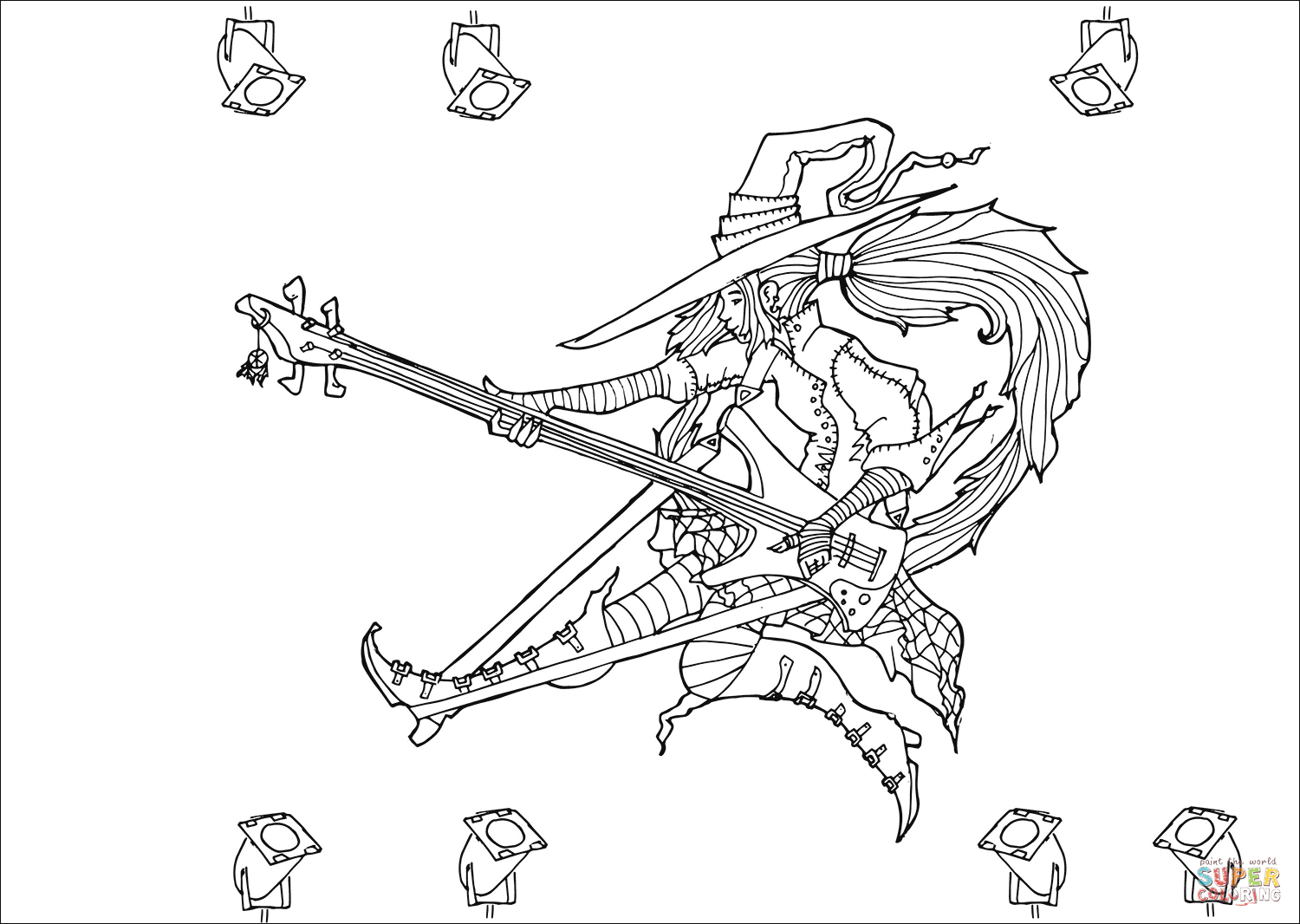Rock Star Witch Coloring Page