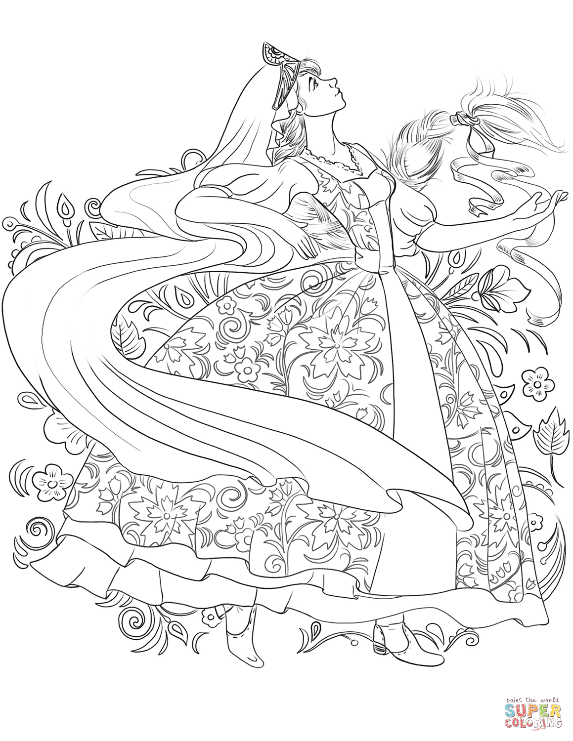 Russian Woman in a Traditional Dress Dancing coloring page