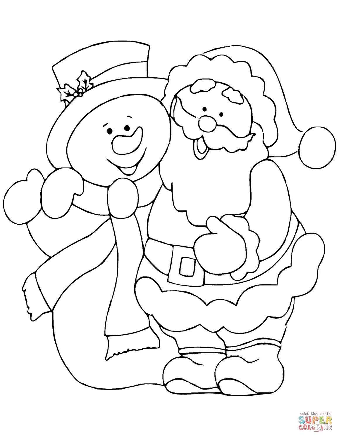 Santa Claus With Snowman Coloring Page