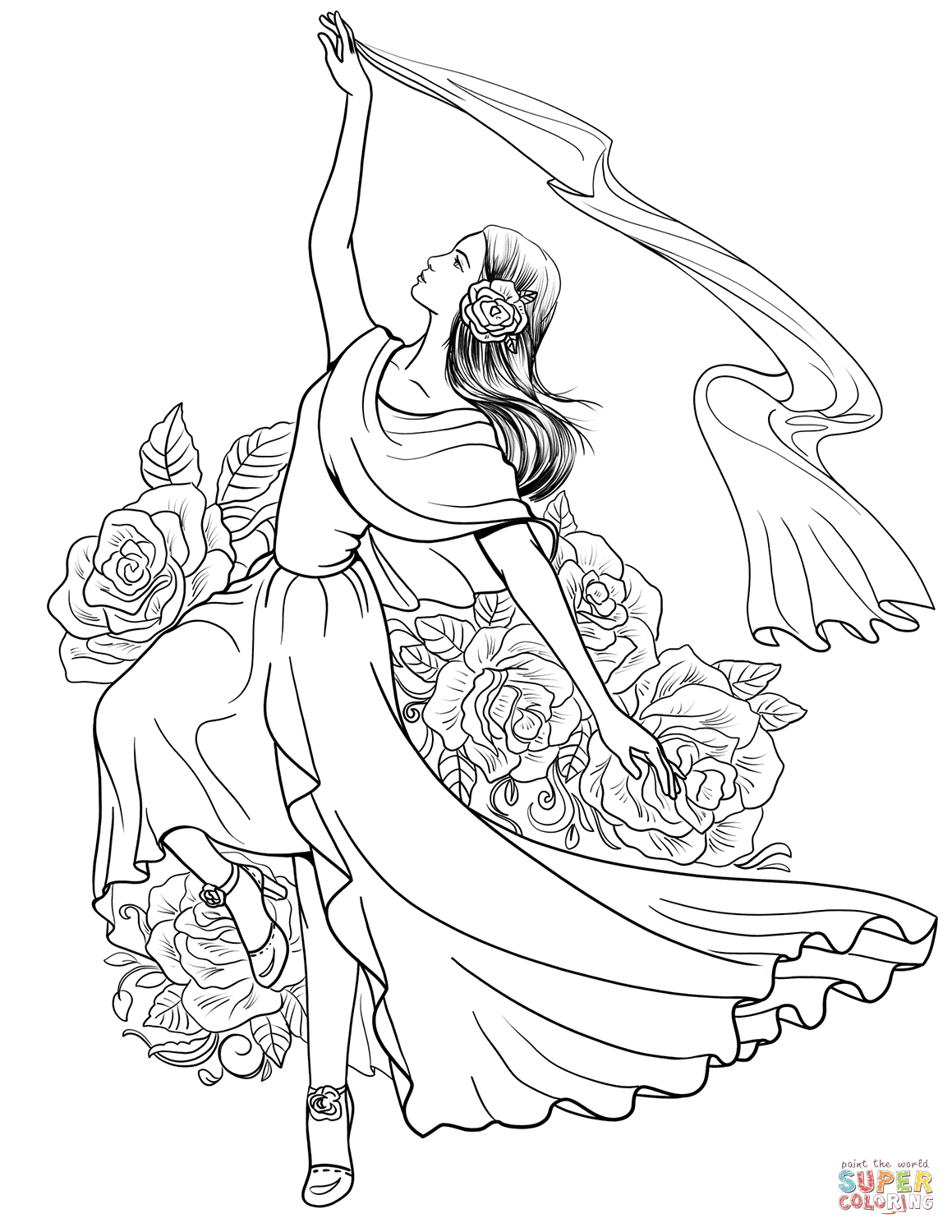 Spanish Woman Dancing Flamenco Coloring Page