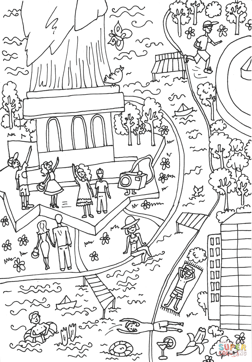 The Statue of Liberty, the Hudson River coloring page