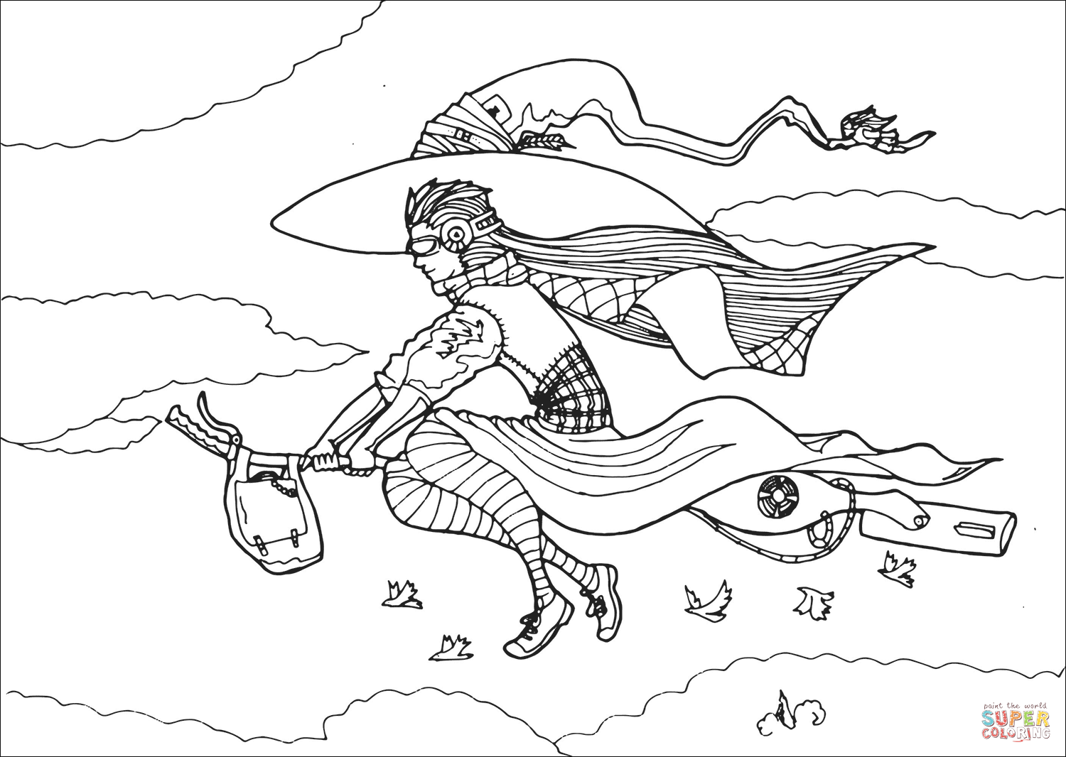 Urban Witch Flying On Broom Coloring Page