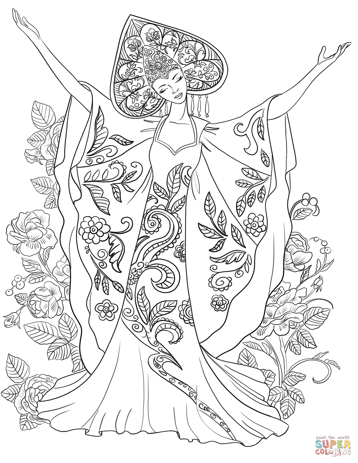 Woman In Russian Traditional Costume Coloring Page