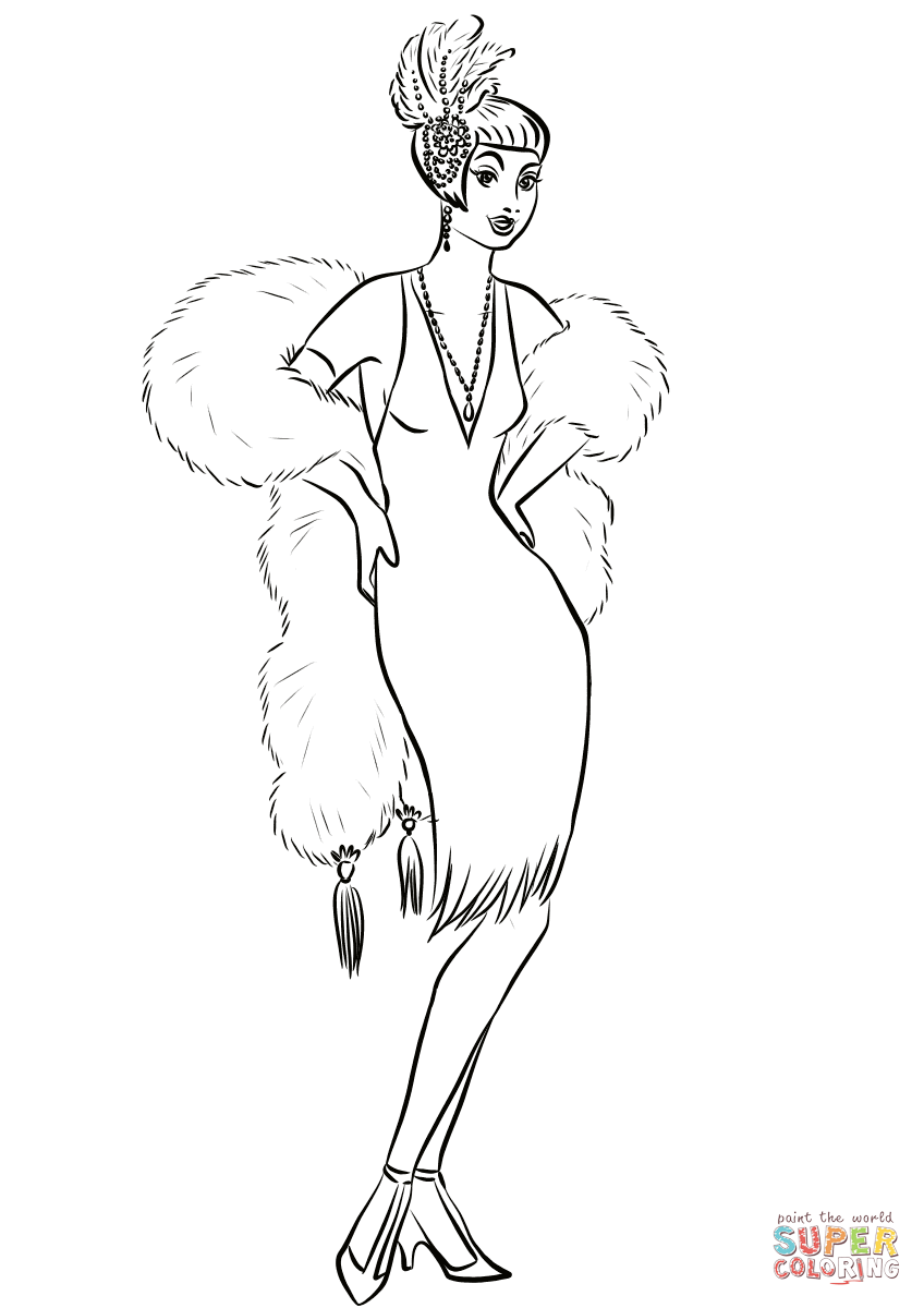 1930's Woman in Cocktail Dress and Fur Boa Scarf coloring