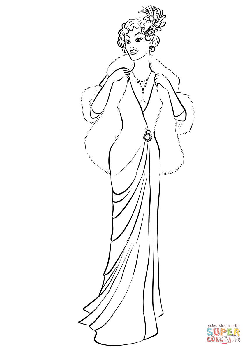 1930's Woman Wearing Long Dress and Fur Coat coloring page