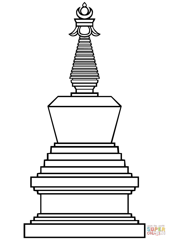 Buddhist Stupa Coloring Page