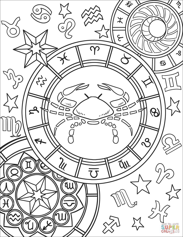 Dibujo De Signo Del Zodiaco Cancer Para Colorear