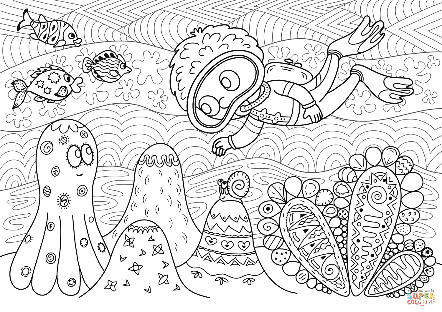 Diver Observing Coral Reef Coloring Page