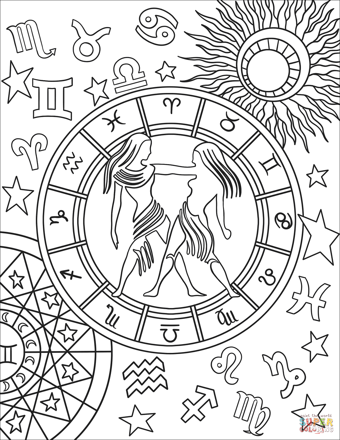 Gemini Zodiac Sign Coloring Page