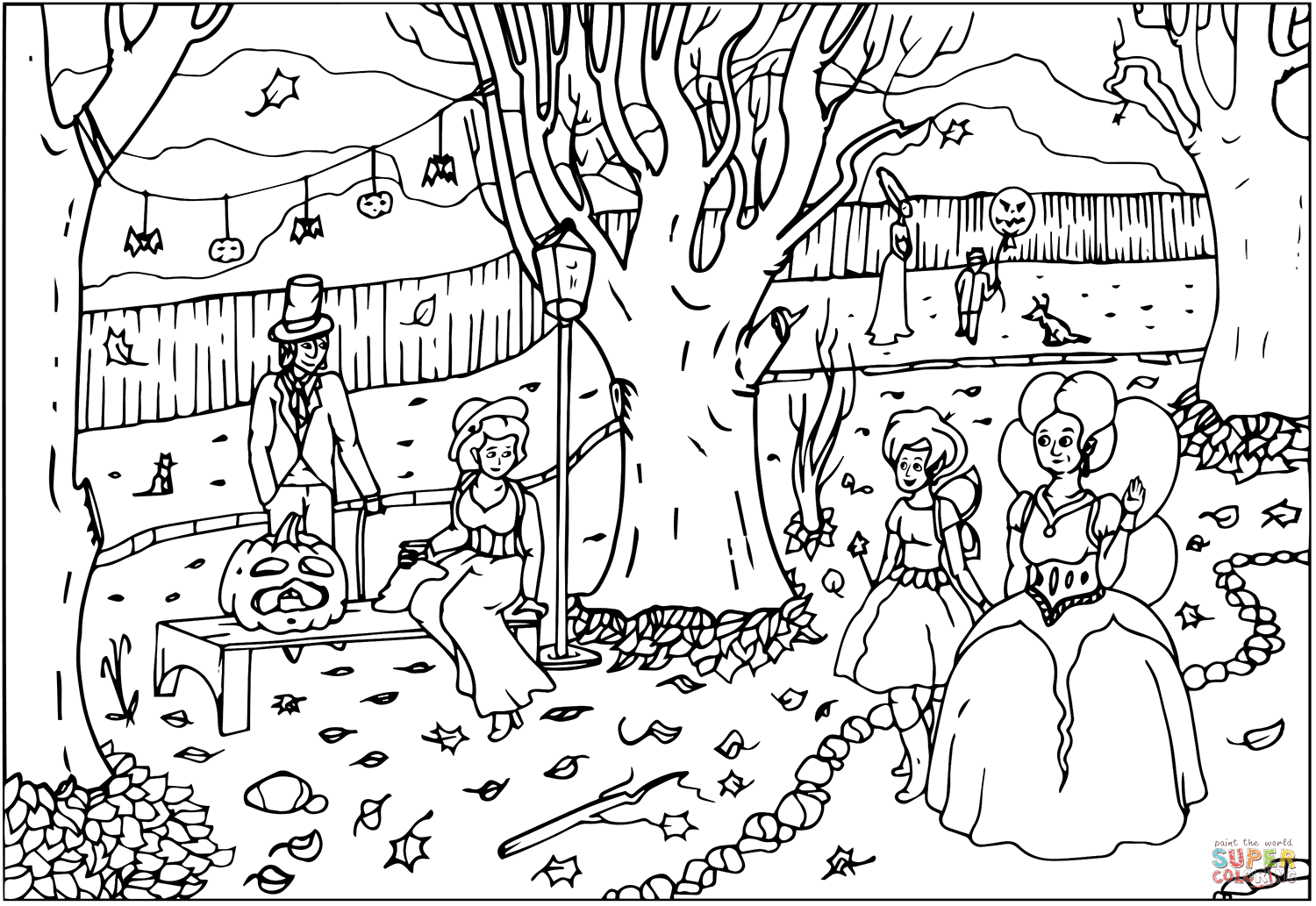 Halloween Ball Party With Fairies Coloring Page