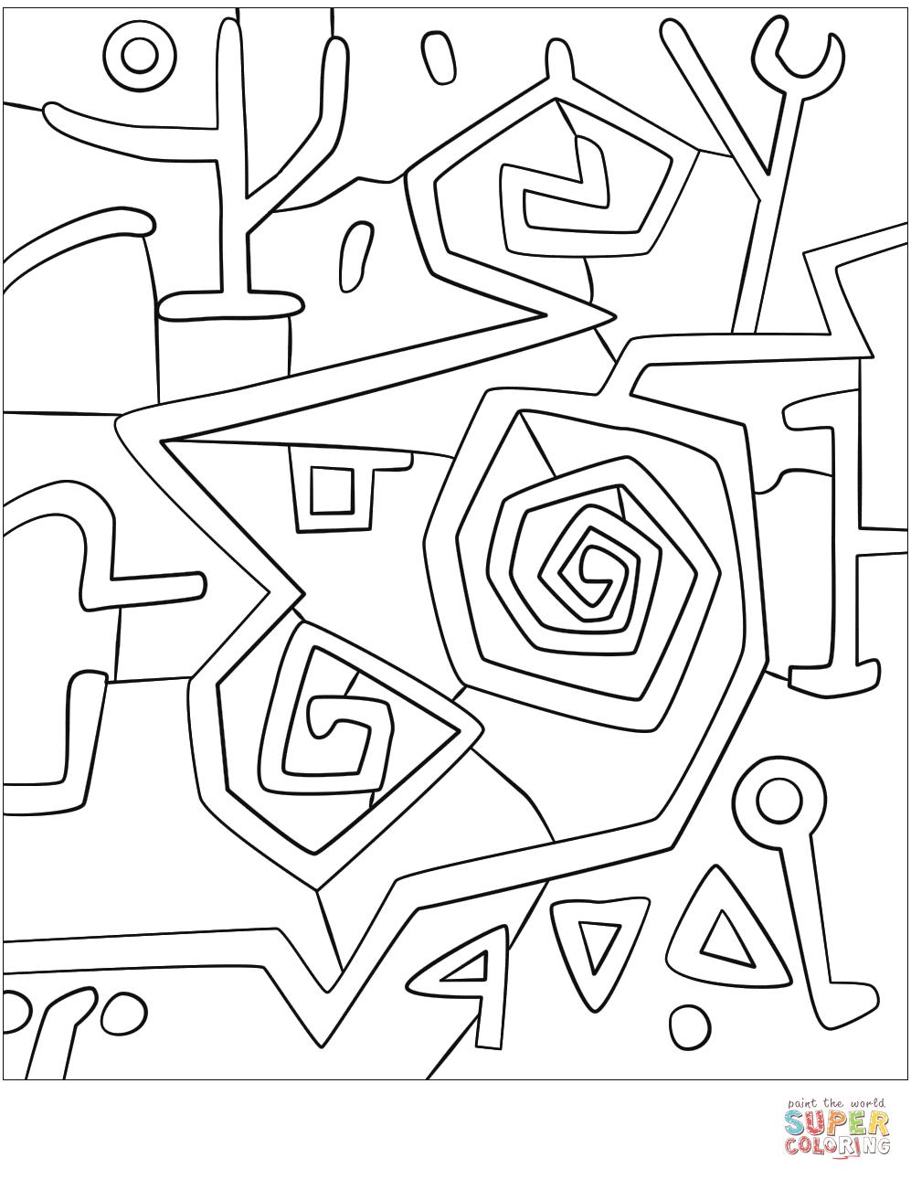 Dibujo de Rosas Heróicas de Paul Klee para colorear