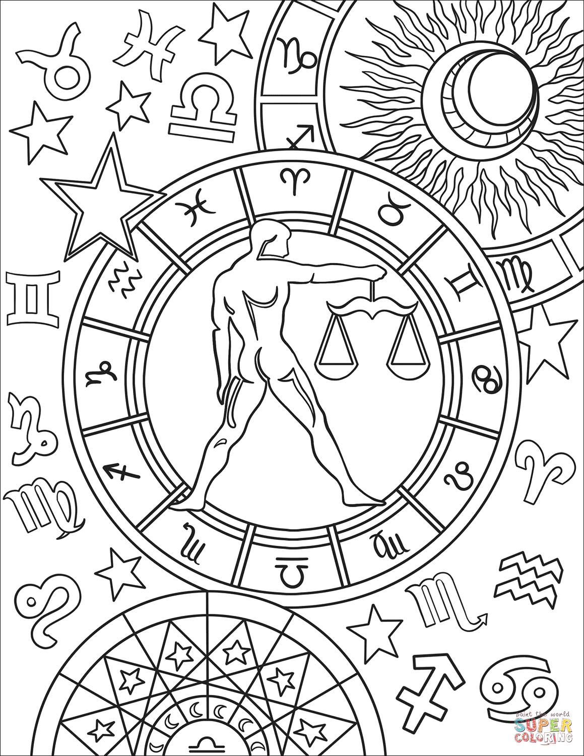 Libra Zodiac Sign Coloring Page Free Printable Coloring Pages