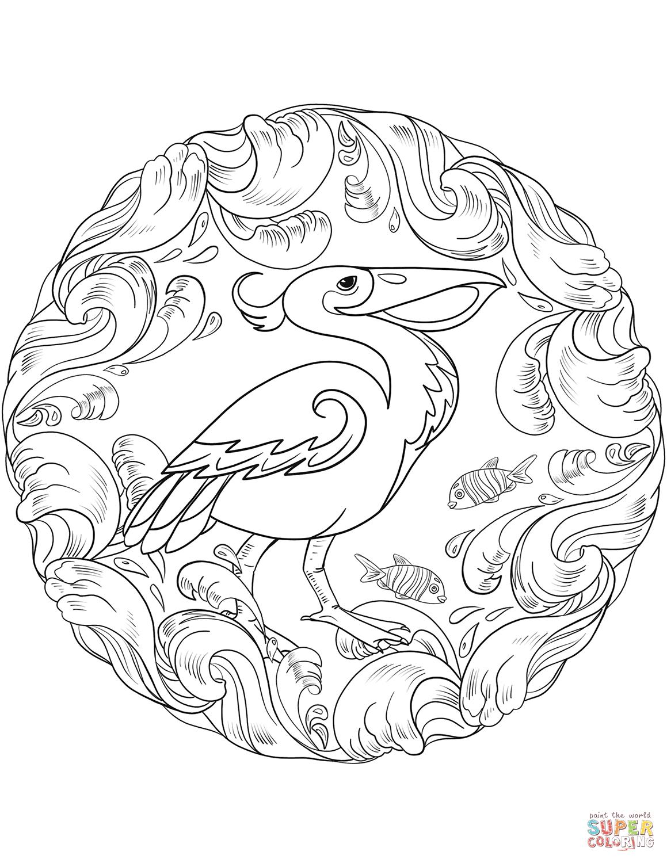 Pelican Mandala Coloring Page Free Printable Coloring