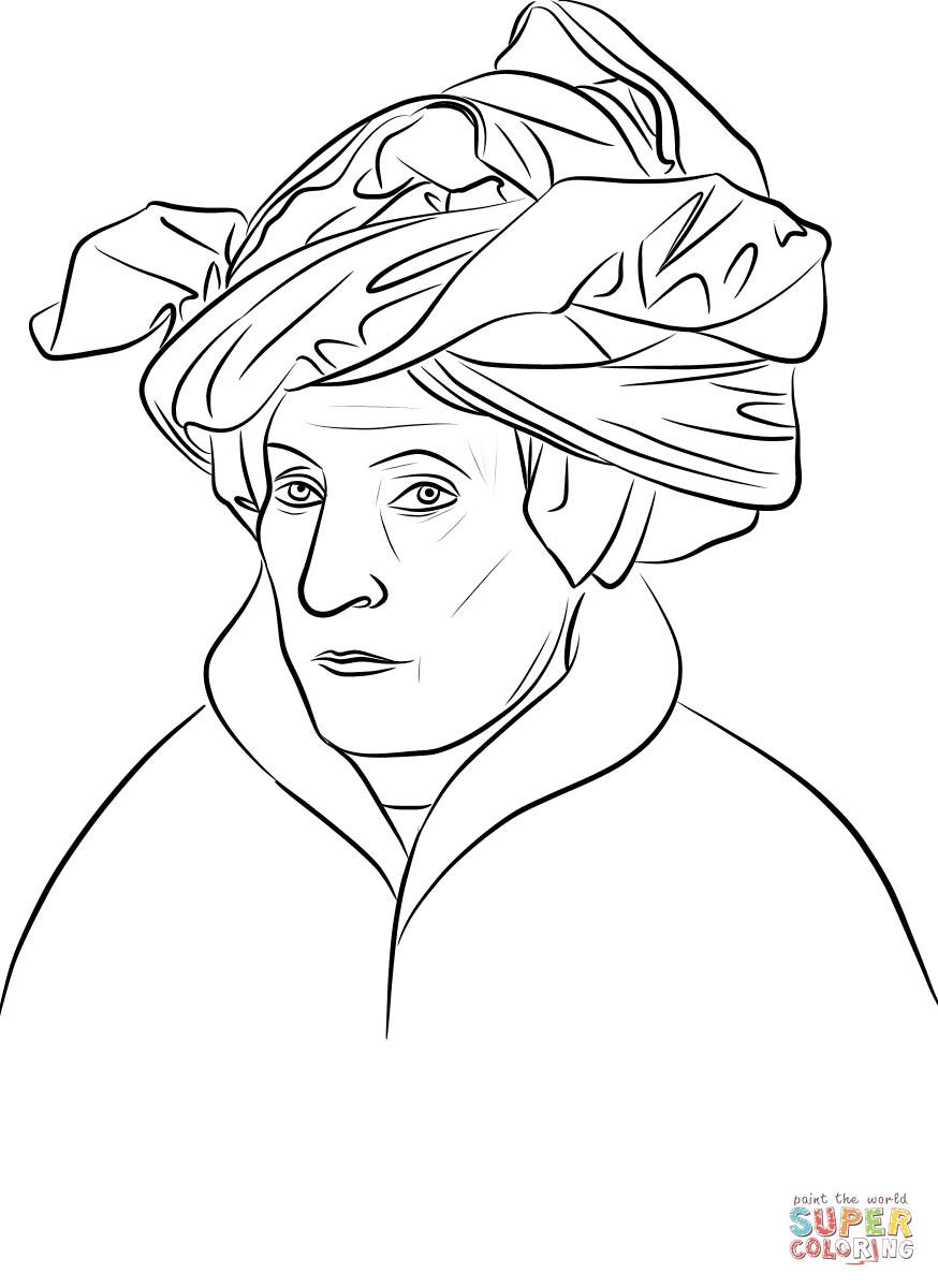 Portrait Of A Man By Jan Van Eyck Coloring Page Free Printable