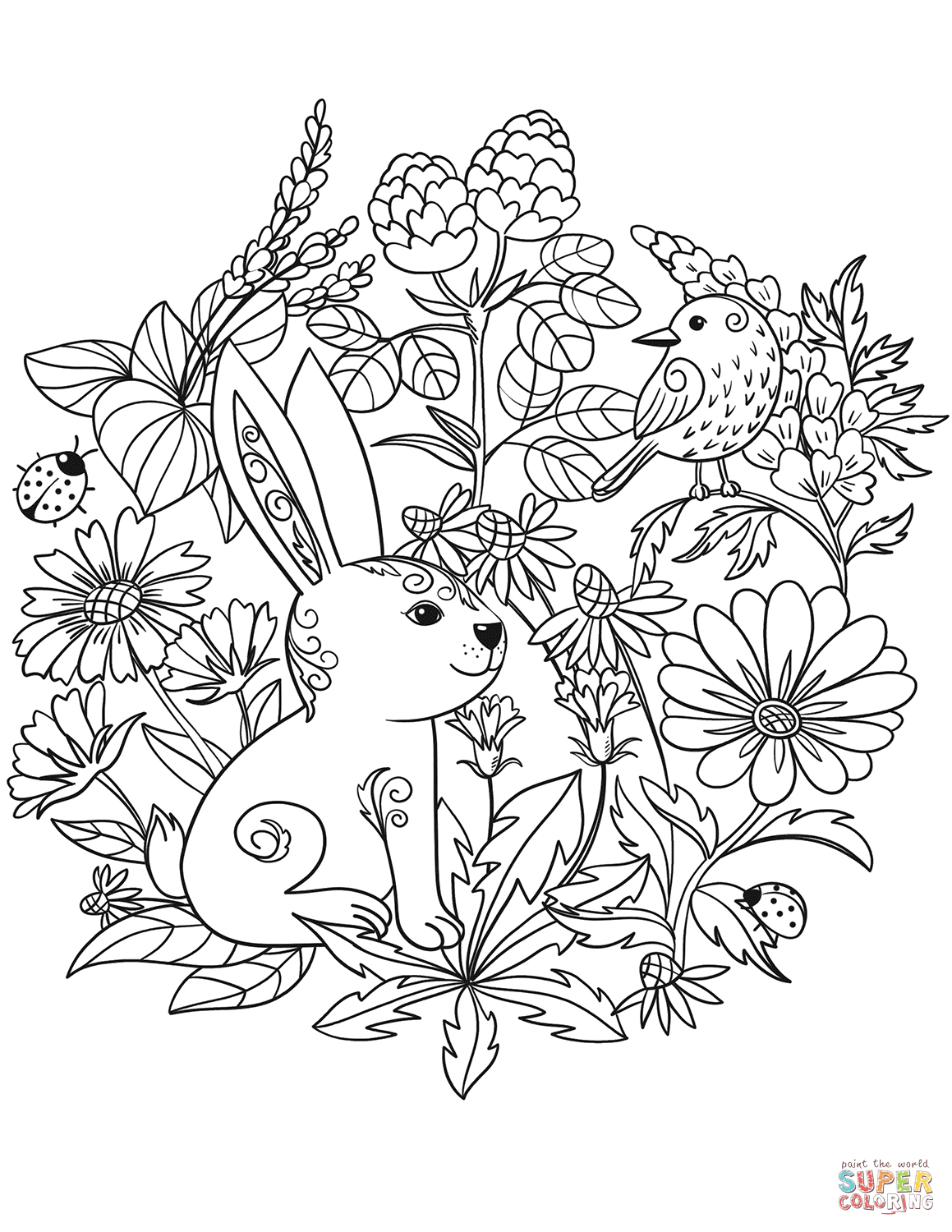 Rabbit And Bird Coloring Page