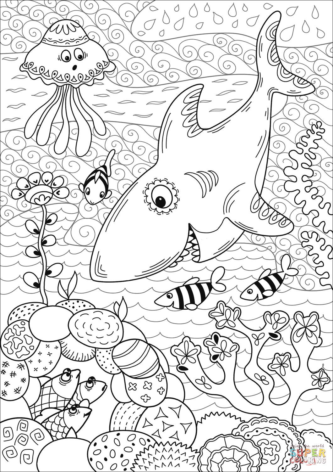 Shark Hunting In Coral Reef Coloring Page