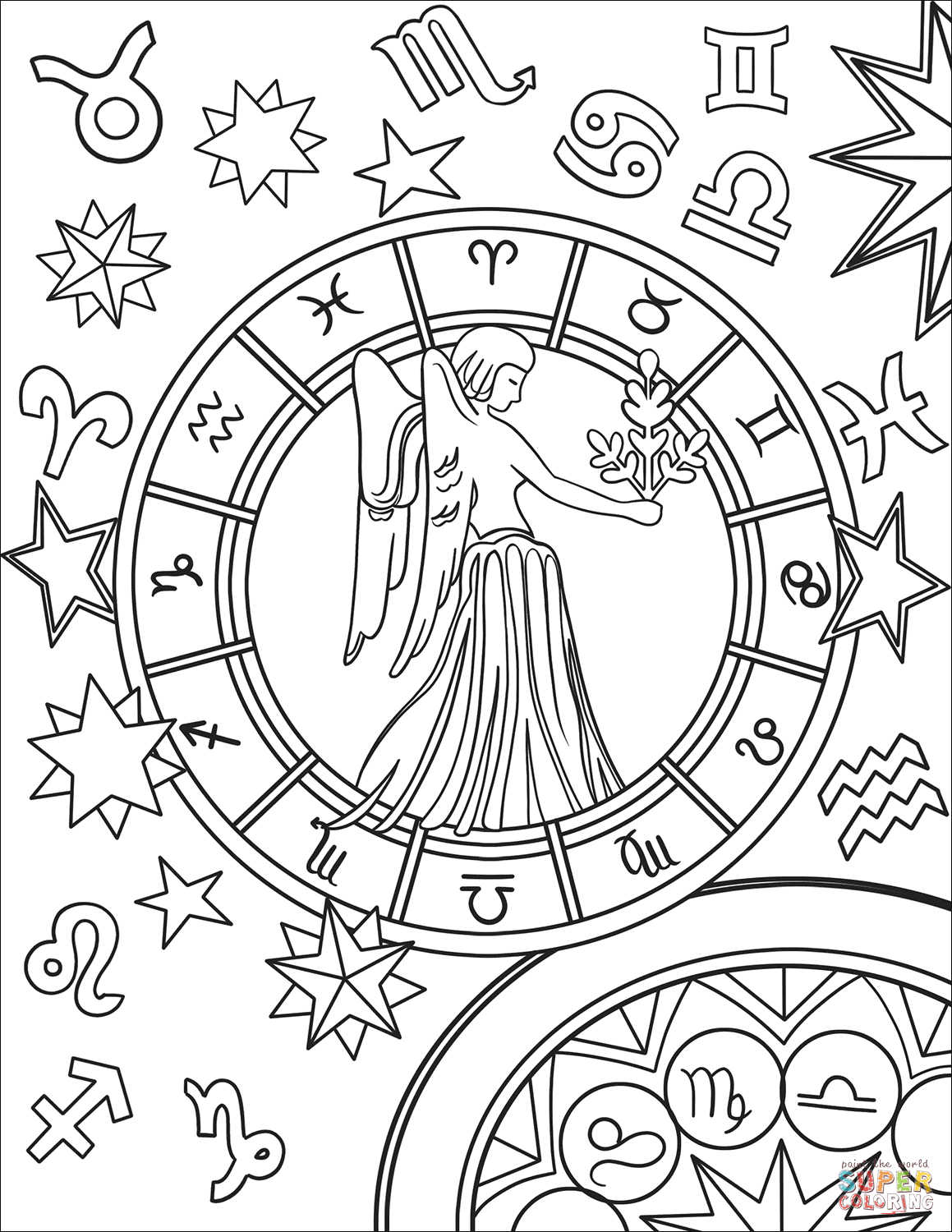 Virgo Zodiac Sign Coloring Page Free Printable Coloring Pages