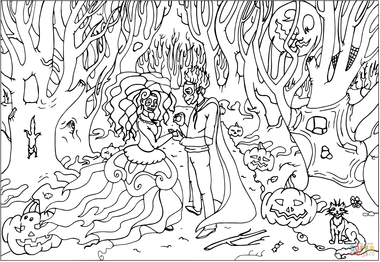 Wedding On Halloween Coloring Page