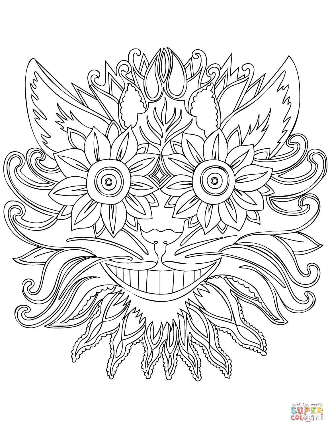 Cheshire Cat Zentangle Coloring Page