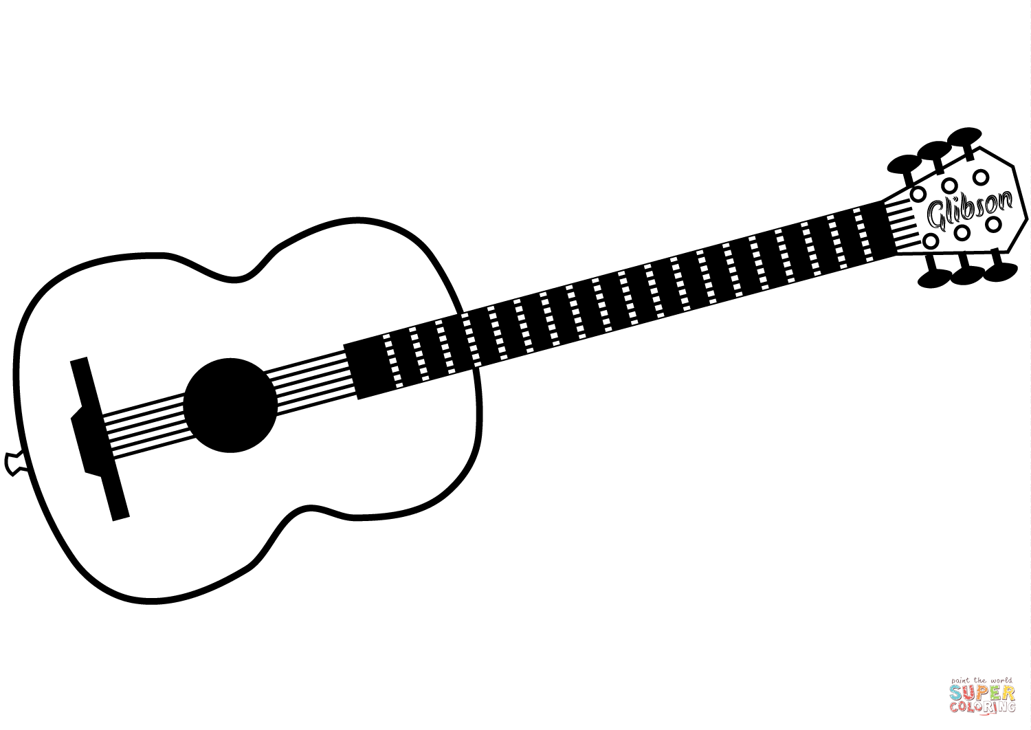 Gibson Acoustic Guitar Coloring Page Free Printable Coloring Pages