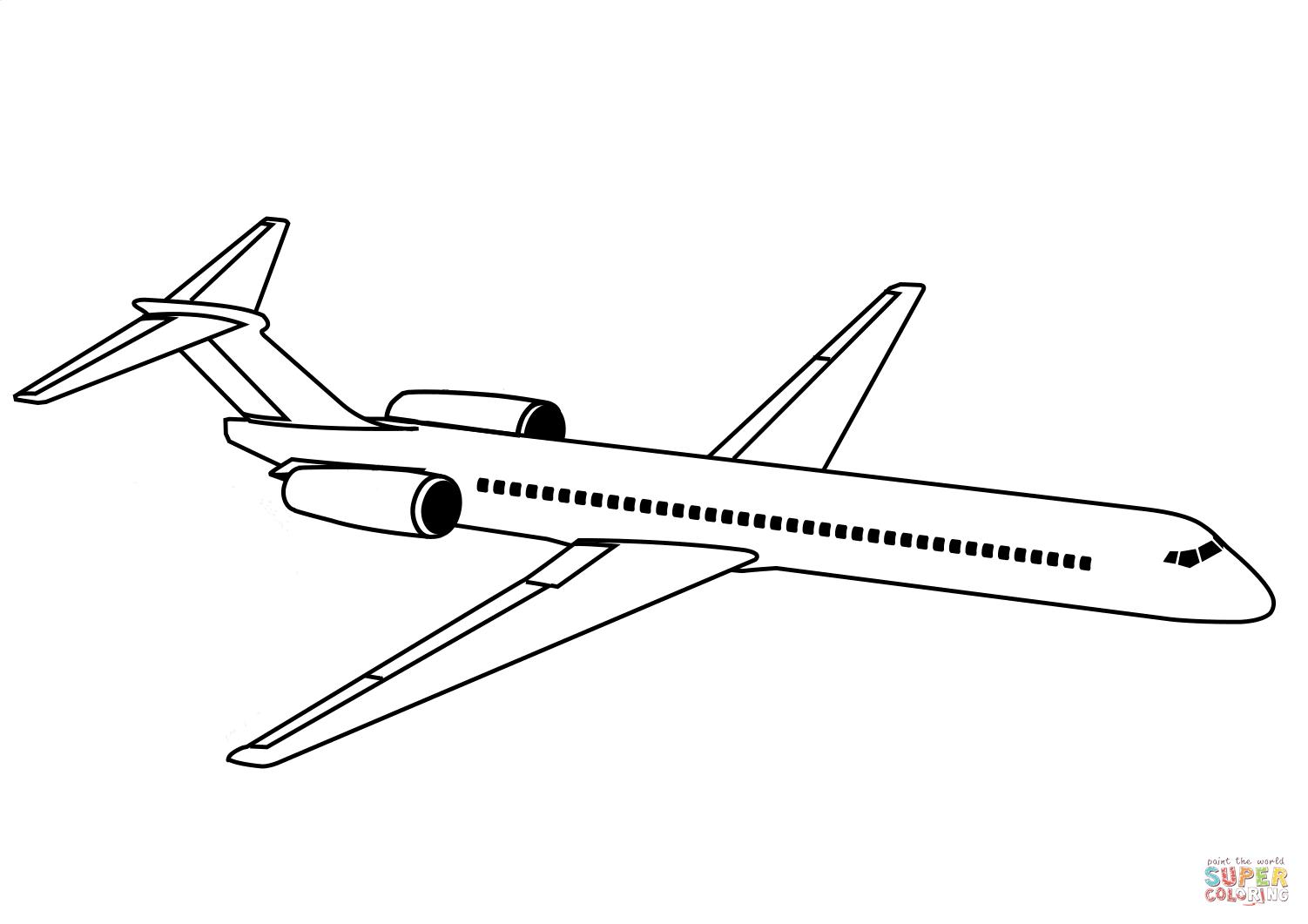 Dibujo De Avion De Linea Para Colorear