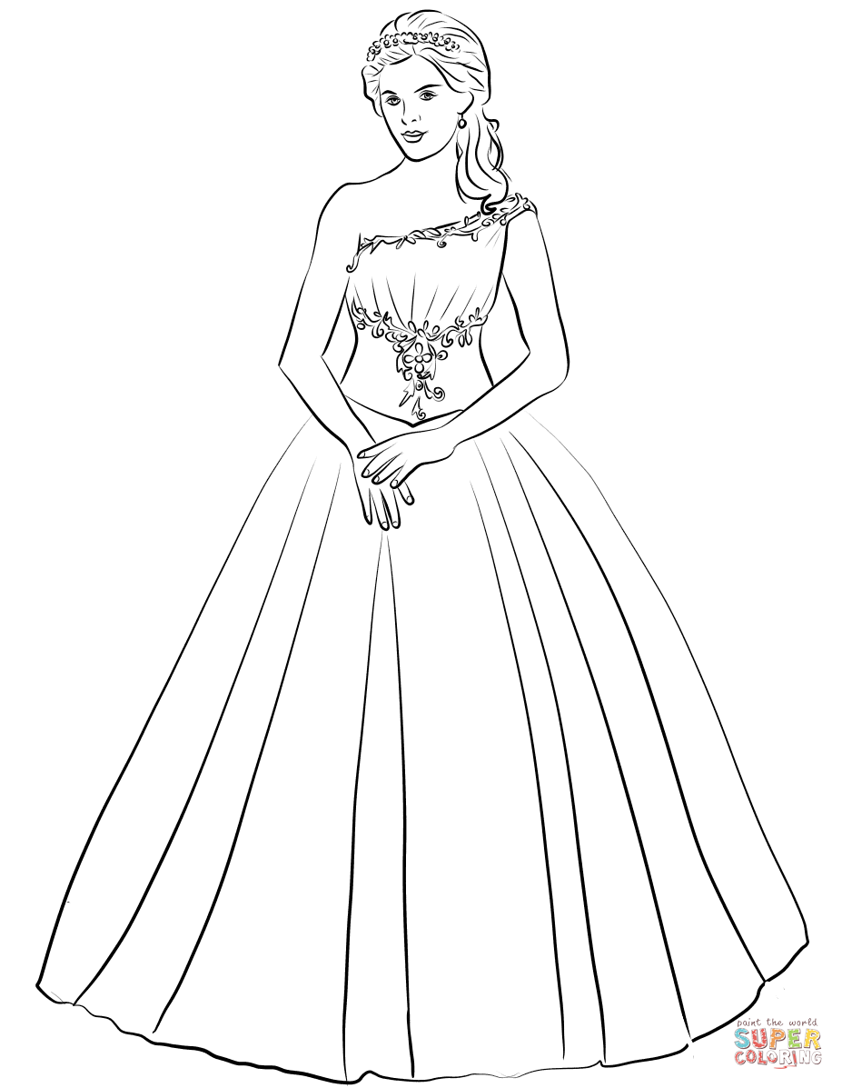 Ball Gown One Shoulder Quinceanera Dress coloring page