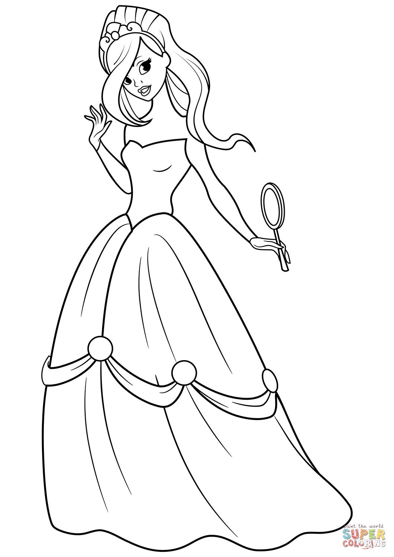 Dibujo de Bella princesa con espejo en la mano para