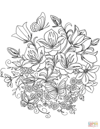 Butterfly and Flowers coloring page | Free Printable ...