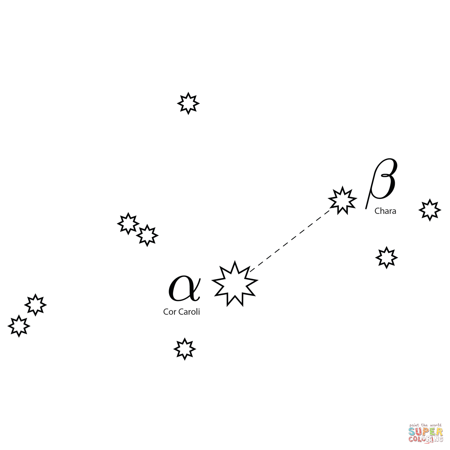 Canes Venatici Constellation Coloring Page