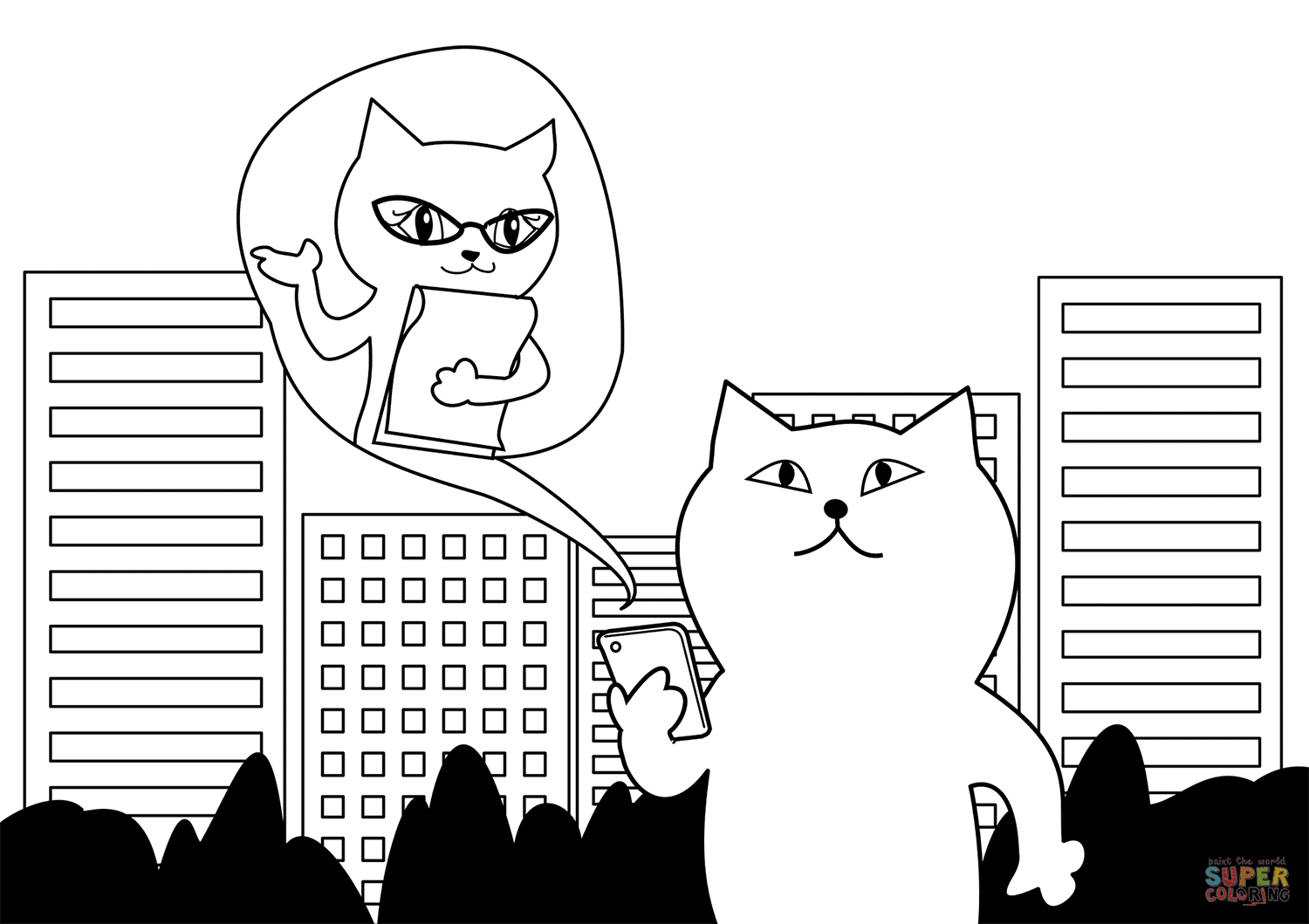 Cat Is Talking On Smartphone Coloring Page