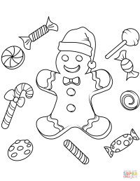 Christmas Gingerbread coloring page | Free Printable ...