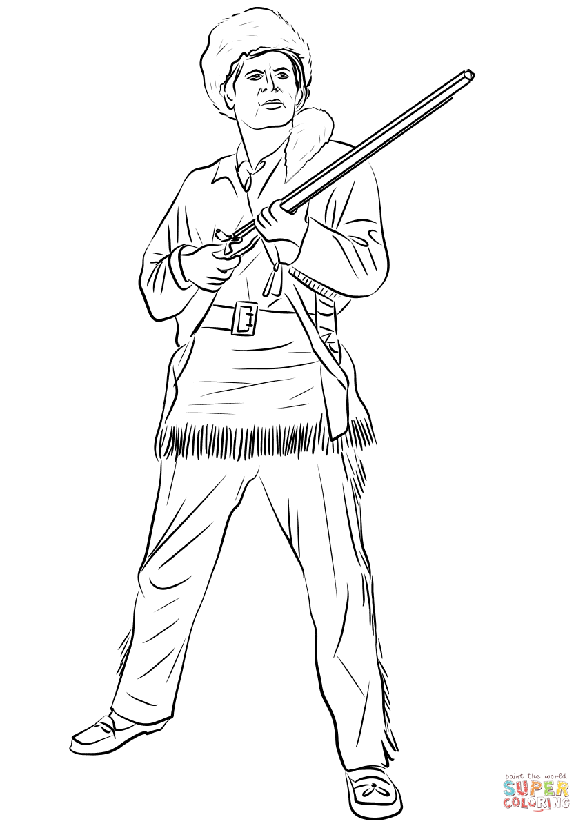 Davy Crockett, King of the Wild Frontier coloring page