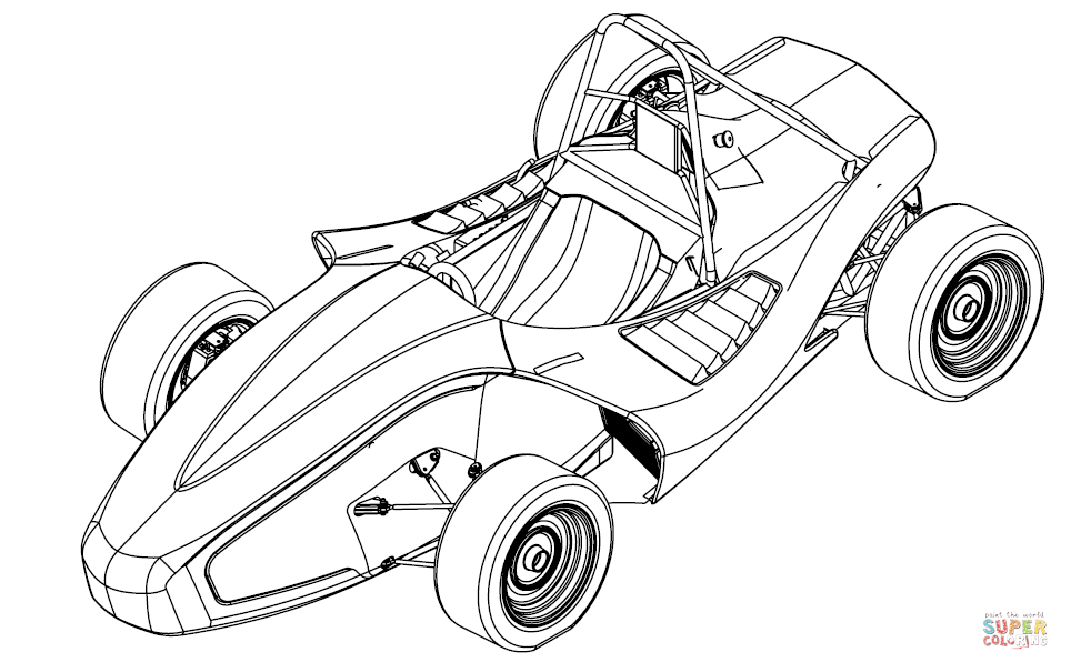 Racing Go Kart Drawing Sketch Coloring Page