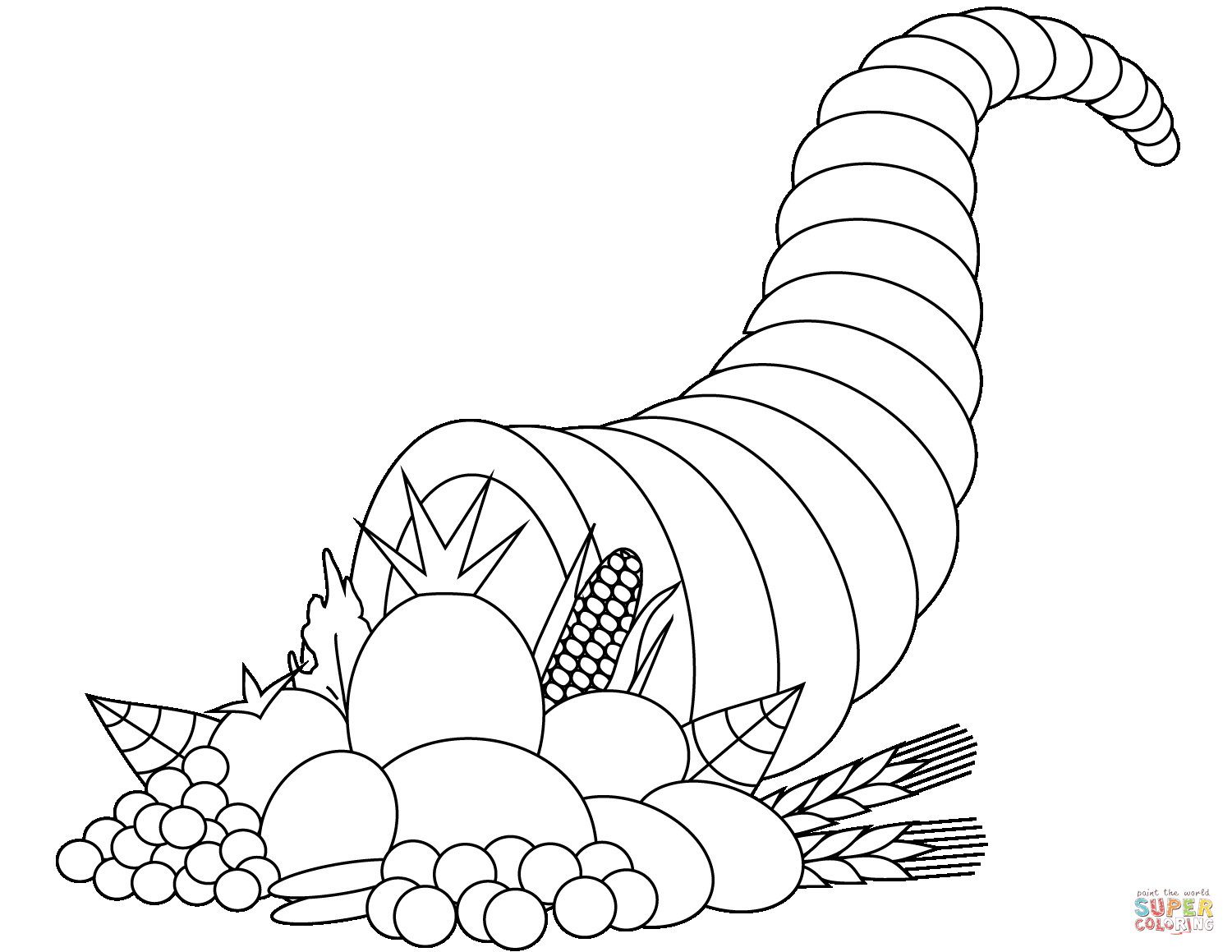 Horn Of Plenty Sheets Coloring Pages