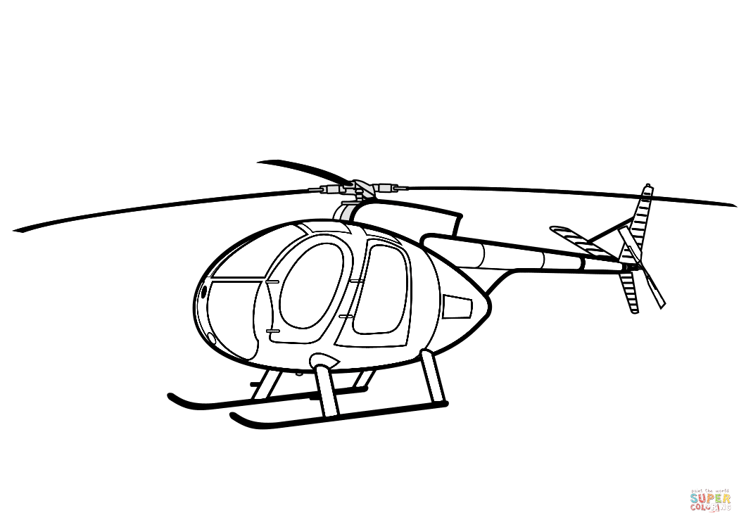 Hughes 500 Helicopter Coloring Page Free Printable Coloring Pages