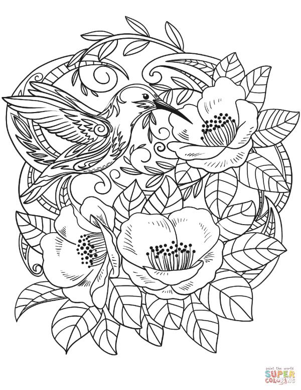 hummingbird in flowers coloring