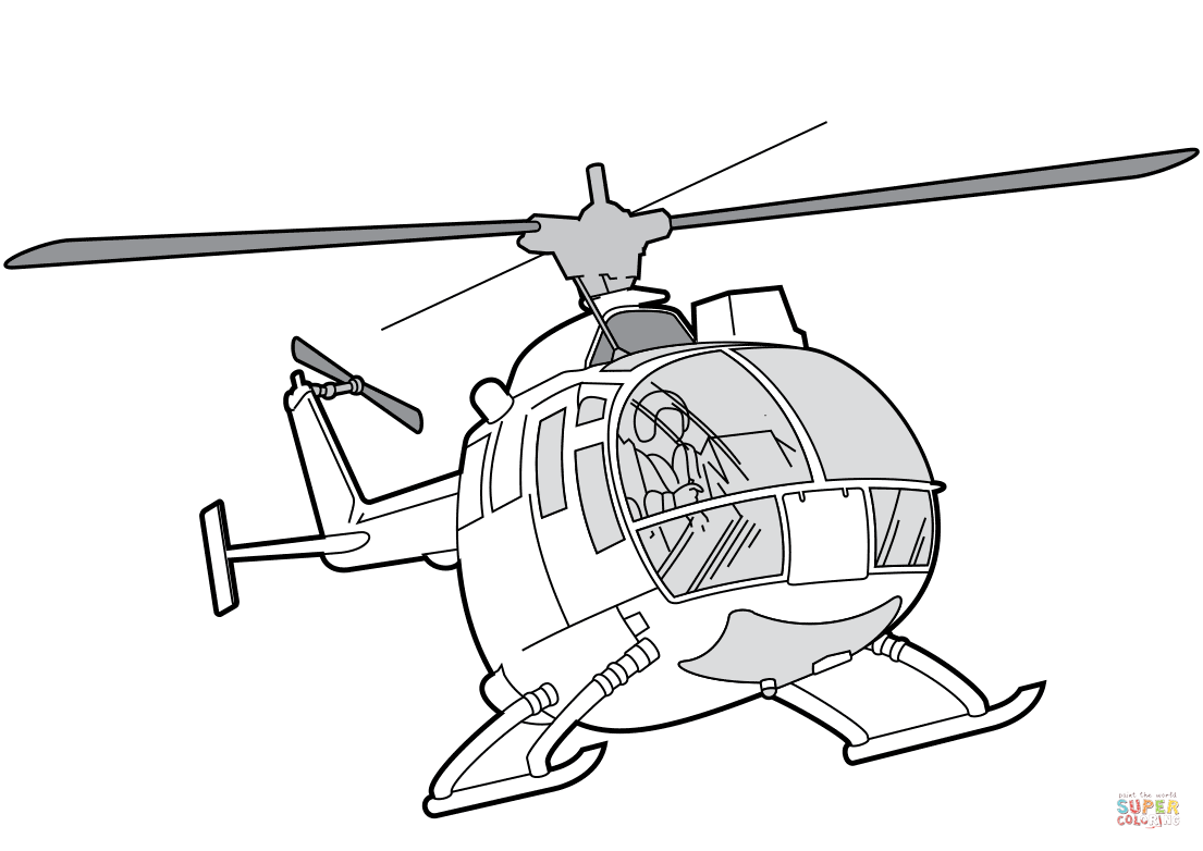 Mbb Bo 105 Helicopter Coloring Page