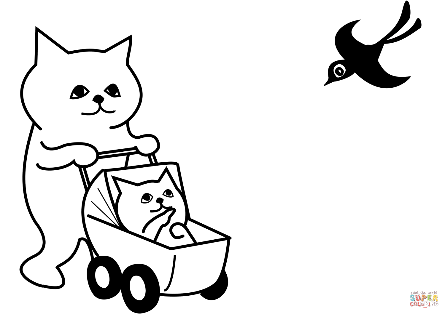 Mother Cat With Kitten In Stroller Coloring Page