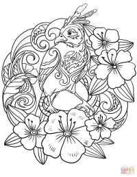 Parrot in Flowers coloring page | Free Printable Coloring ...