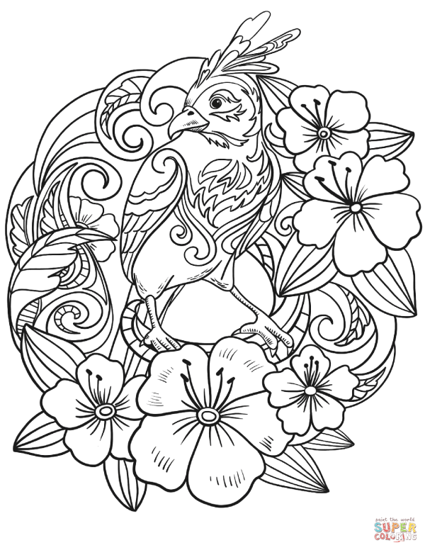 parrot in flowers coloring page