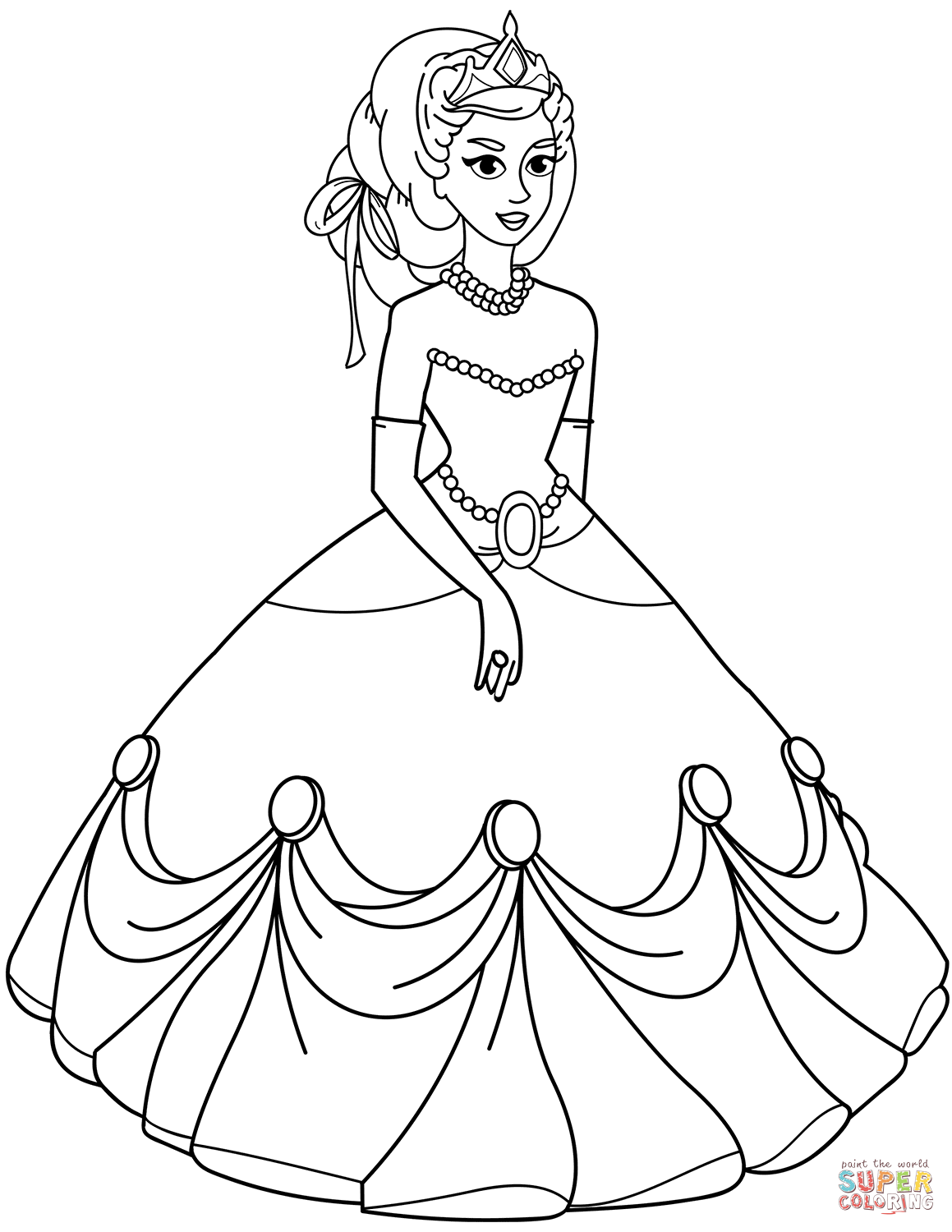 Princess In Ball Gown Dress Coloring Page