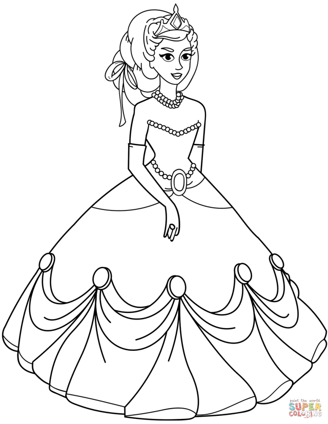 Princess in Ball Gown Dress coloring page  Free Printable