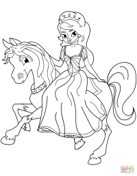 Princess Riding Horse coloring page
